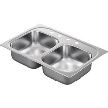 "Moen 22 x 33"" Double Bowl Stainless Steel Sink 4 Hole"