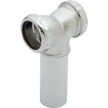 "Brass Tubular Coupling Disposer Tee Center Outlet 1-1/2"" Slip Joint 20-Gauge"