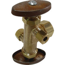 "BC Multi-Turn Dual Outlet/Dual Shutoff Stop Valve 1/2"" Comp x 3/8"" x 1/4"" Comp"