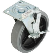 "Shepherd 8"" Rubber Gray Non-Marking Wheel Swivel Caster With Wheel Brake"