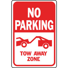 "12 x 18"" Aluminum ""No Parking Tow Away Zone"" Sign"