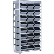 "64-1/2 x 34 x 15"" Commercial Bin Rack With 24 Plastic Bins"