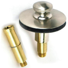 Watco® Bathtub Drain Stopper Push-Pull 3/8 or 5/16 Threaded Pin Brushed Nickel Finish
