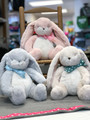 Sleepy Time Bunnies in Gray, Pink or Cream with coordinating ribbon.