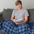 Comfortable Blue Plaid Weighted Blanket
