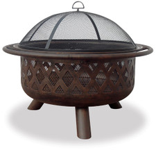 Blue Rhino UniFlame Oil Rubbed Bronze Outdoor Fire Pit With Criss Cross  Design   WAD792SP