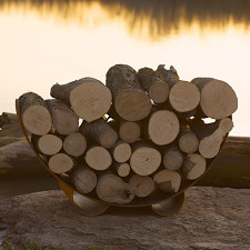 Fire Pit Art Crescent Log Rack - CRLR