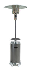 "TFPS Patio Heaters 87"" Two Toned Stainless Steel Hammered Silver Patio Heater with Table - TFPS-HLDS01-SSHST"