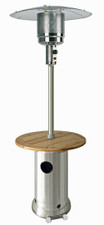 "TFPS Patio Heaters 87""  Stainless Steel Patio Heater with Wood Table - TFPS-HLDS01-BWT"