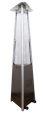 "TFPS Patio Heaters 94"" Tall Outdoor Commercial Natural Gas Triangle Glass Tube Heater-Hammered Bronze Patio Heater - TFPS-NG-GT-BRZ"