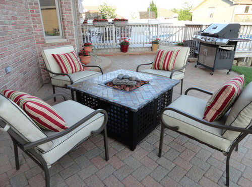 Blue Rhino LP Gas Outdoor Firebowl with Slate/Marble Mantel ...