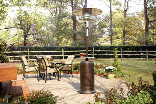 """TFPS Patio Heaters 87'"""" Hammered Bronze Patio Heater With"""