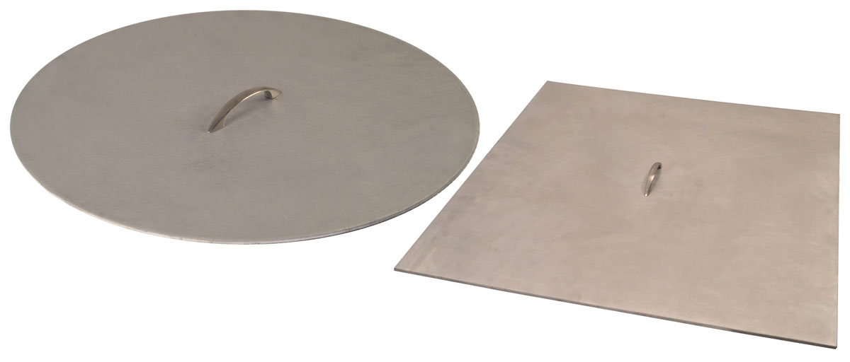 38 inch x 18 inch brushed aluminum fire pit cover with handle for
