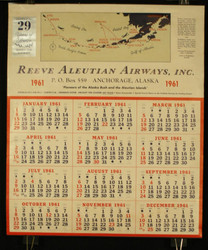 26  REEVE ALEUTIAN AIRWAYS ANCHORAGE ALASKA  VINTAGE POSTER 1961