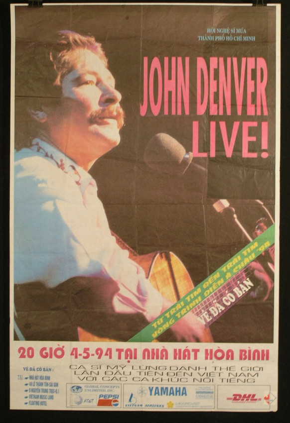 Has folds otherwise fine. I obtained this poster in 1994 a few nights before this concert From a man who was plastering them on the side of buildings in Saigon. I was riding a motorcycle at the time and had no where to store it. So I folded it up and stuffed in my backpack At the time this was milestone event. John Denver was the first major musician to perform in Vietnam in decades. This is a rare poster. Possible the only one out there.