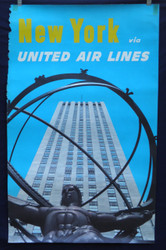 12 United Airlines - New York  Rockefeller Center 1950's