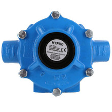 Hypro 8-roller pump with cast iron housing and rotor, Viton seals, and Super Rollers.