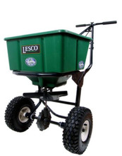 The hopper has a 50 lb. capacity and can be filled with granular products, such as fertilizers, grass seed, and ice melt.