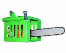Heavy-duty cage rack secures a chainsaw firmly in an open or enclosed trailer.
