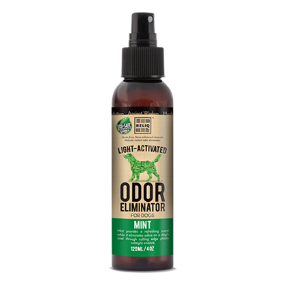 RELIQ's advanced leading science formula eliminates all dog odors, now with a fresh mint scent.