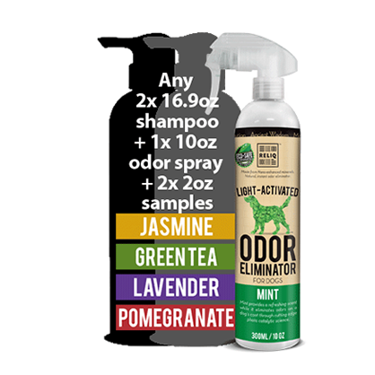 This is an introductory package available to verifiable pet industry professionals only. Package contain any two 16.9oz shampoo, two 2oz samples, and 1x 10oz anti-microbial odor spray. $55 value.