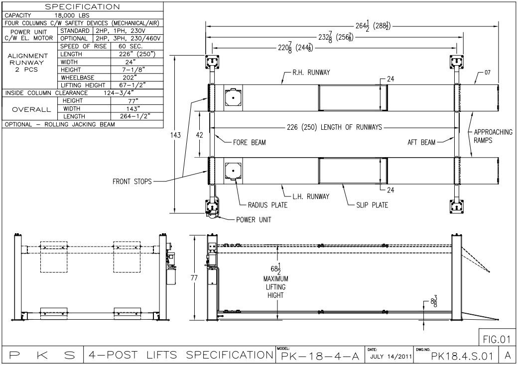 PKS Lifts PK18-4 Series 18,000 Lbs. Four Post Lift