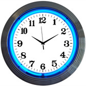 Neonetics 8CHRCB Chrome Blue Standard Neon Clock