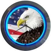Neonetics 8EGFLG Eagle With American Flag Neon Clock