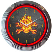 Neonetics 8MFIRE Mechanic Fire Skull And Wrenches Neon Clock
