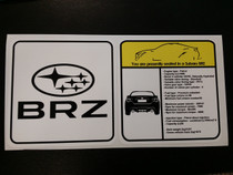 Subaru BRZ Visor Spec Sheet Sticker