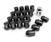 DURA-NUT L32 STRAIGHT TYPE 12X1.25 16 LUG + 4 LOCK SET -  BLACK ALMITE