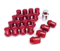 DURA-NUT L32 STRAIGHT TYPE 12X1.25 16 LUG + 4 LOCK SET -  RED ALMITE