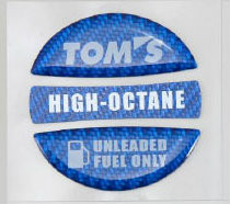 TOM'S RACING GAS CAP OVER LAY CARBON BLUE HIGH OCTANE