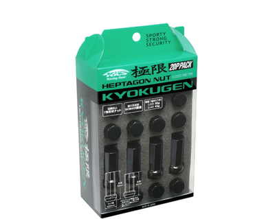 KICS Kyokugen 7-Sided Lug Nuts 12x1.50 Closed Ended Black (HPF1B-L42)