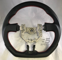 OEM Fit Black Leather Steering Wheel w/Red Stitching