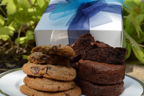 This bold color gift box of gourmet cookies and BIG chocolate brownies is a gourmet food gift they are sure to enjoy.