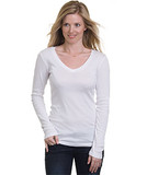 Misses Long Sleeve Deep V-Neck Tee