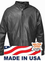 Walter Dyer Men's Lightweight Black Leather Scooter w/ Zip-Out Lining and Antique Brass Hardware