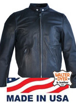 Walter Dyer Men's Lightweight Black Leather Scooter w/ Zip-Out Lining and Nickel Hardware