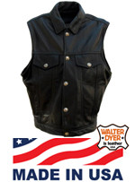 Walter Dyer Men's Levi Leather Vest w/Shirt Collar