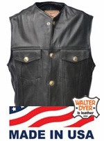 Walter Dyer Men's Levi Leather Vest No Collar