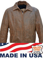 Walter Dyer Men's 250 Casual Jacket Brown Distressed