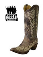 Corral Brown Crater Bone Embroidery Western Boots A1094