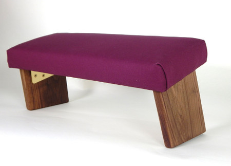 Black Walnut legs, Folding Meditation Bench, Burgundy Organic Cotton