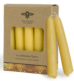 Beeswax 5 inch taper set of 10