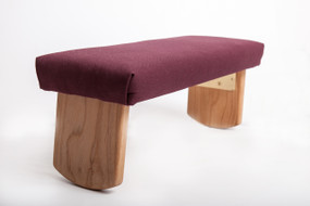 Folding Meditation Bench, Burgundy Cotton, tall-round legs