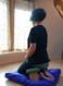 Meditating on a Deluxer Zabuton, Indigo Raw Silk.