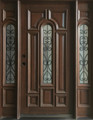 5/0 x 6/8 Mahogany & Iron Door with Sidelights Center Arch, Solid Wood Entry Door