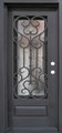 3/0 x 6/8 Single Wrought Iron Door w/ Operable Glass Panel