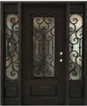 5/0 x 6/8 Wrought Iron Door with Sidelights w/ Operable Glass Panel